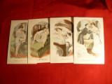 Set 4 Ilustrate porno Franta cca.1900 ,litografii semnate , necirculate, Necirculata, Printata