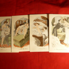 Set 4 Ilustrate porno Franta cca.1900, litografii semnate, necirculate, Necirculata, Printata