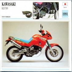 359 Foto Motociclism - KAWASAKI KLE 500 - JAPONIA -1991 -pe verso date tehnice in franceza -dim.138X138 mm -starea ce se vede - Fotografie