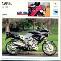 367 Foto Motociclism - YAMAHA 850 TDM - JAPONIA -1991 -pe verso date tehnice in franceza -dim.138X138 mm -starea ce se vede - Fotografie