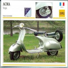 355 Foto Motociclism - ACMA VESPA -SCOOTER - FRANTA -1951 -pe verso date tehnice in franceza -dim.138X138 mm -starea ce se vede - Fotografie