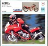 366 Foto Motociclism - YAMAHA XJ 600 S DIVERSION - JAPONIA -1991 -pe verso date tehnice in franceza -dim.138X138 mm -starea ce se vede