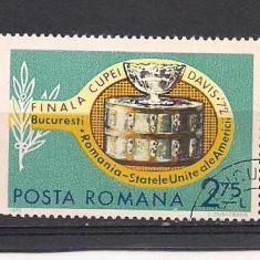 No(02)timbre-Romania 1972-L.P.809-Finala Cupei Davis-serie stampilata
