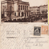 Bucuresti- Teatrul National-animata - Carte Postala Muntenia 1904-1918, Circulata, Printata