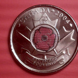 CANADA 25 CENTS 2004 REMEMBER SOUVENIR  UNC. RAR. lichidare colectie, America Centrala si de Sud, Nichel