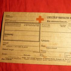 Carte Postala dubla necirc. -Crucea Rosie -pt.Prizonieri Razboi Rusia, Ungaria, Europa, Necirculata