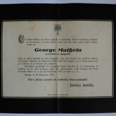 Necrolog de epoca timbrat 1937 Bistrita, 2 timbre pe verso - Pliant Meniu Reclama tiparita