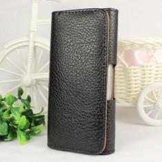 Husa neagra piele iphone 5 toc pantaloni + folie display - Husa Telefon Apple, iPhone 5/5S/SE, Negru