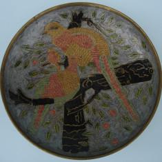Farfurie / platou ALAMA cu FAZANI, desen GRAVAT - Metal/Fonta