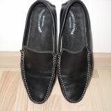 Pantofi negri din piele - Pantof barbat, Marime: 40, Culoare: Negru, Piele naturala, Negru