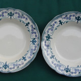 Doua farfurii mari pentru supa din portelan suedez Gustafsberg Victor