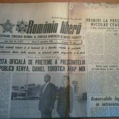 ziarul romania libera 11 septembrie 1987-vizita presedintelui republicii kenya
