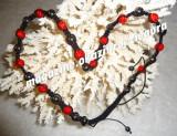 COLIER SHAMBALLA 13 BILE CRISTALE SWAROVSKI ROSII RED LIGHT 18 MAGNETI HEMATITE