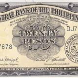 "Bancnota Filipine 20 Pesos (1949) - P137d UNC (seria ""englezeasca"") - bancnota asia"