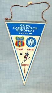 29 New Fanion - CUPA CAMPIONILOR EUROPENI-TURUL III -STEAUA -KUUSYSI -5 MARTIE 1986 -starea care se vede