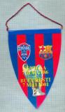 58 New Fanion - F.C.STEAUA -F.C. BARCELONA -SEVILLA 7 MAI 1986- BUCURESTI 7 MAI 2001-UEFA CAMPIONS LEAGUE  -starea care se vede