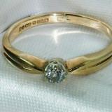 Superb inel solitaire vintage aur galben 9K cu diamant natural 0, 15CT VS !!! - Inel aur, 46 - 56