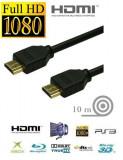 Cablu HDMI - HDMI  10 METRI pentru FULL HD cu HIGH SPEED si ETHERNET mufe AURITE
