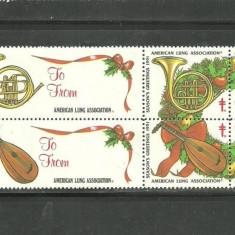 SUA 1991 - INSTRUMENTE MUZICALE, FRUCTE CRACIUN, 6 viniete (cobza) E118 - Timbre straine