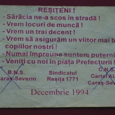 Document - manifest sindical resita 1994 - Pliant Meniu Reclama tiparita