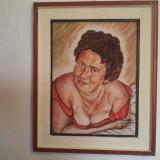 Pictura ulei pe carton - portret semnat - Pictor roman