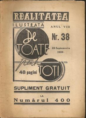 Realitatea ilustrata ( De toate pentru toti - supliment ) - 23 septemvrie 1934 foto