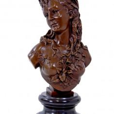 BUST DE FEMEIE- STATUETA DIN BRONZ PE SOCLU DIN MARMURA - Sculptura