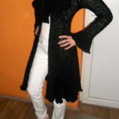 Trench tricotat superb - Trench dama, Marime: S, Culoare: Negru, S, Negru