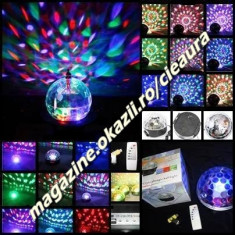 GLOB LUMINOS TRANSPARENT TELECOMANDA RGB INDOOR LED CRYSTAL MAGIC BALL USB MP3 SOUND REMOTE CONTROL Stage Effect Light ECHIPAMENTE DJ PARTY BAR CLUB - Echipament DJ