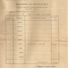 Ministerul Finantelor - Borderou de proprietate ( Imprumutul reintregirii din 1941 ) - 1942