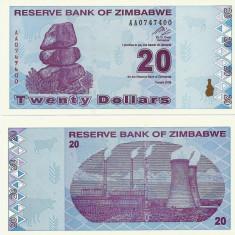 ZIMBABWE- 20 DOLLARS 2009- UNC!! - bancnota africa