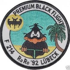 -Ecuson Geaca Aviatie Pilot-Escadrila de Vanatoare Fregata Lübeck F214-RORO 1992-Original-Colectie Personala-Nefolosit-Editie Limitata-