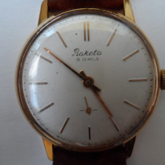 Vechi ceas de mana, mecanic, RAKETA -16 rubine, placat cu aur, perfect functionabil, anii 1950-1960