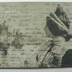 CURIOZITATE CARTOFILA - CARTE POSTALA ILUSTRATA CLASICA ( LILIPUT ) - CIRCULATA ANUL 1904 LA MAROS UJVAR ( OCNA MURES ) - DIMENS. 9 X 7 CM