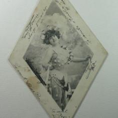 CURIOZITATE CARTOFILA - CARTE POSTALA ILUSTRATA CLASICA FORMA ROMBOIDALA ( LILIPUT ) - CIRCULATA AN. 1904 LA MAROS UJVAR ( OCNA MURES ) - DIM.9X14 CM