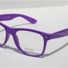 Wayfarer Ochelari MOV cu Lentine TRANSPARENTE, Unisex, Colorate, Plastic, Rama intreaga