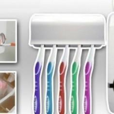 Dozator pentru pasta de dinti + Suport pentru 5 periute cu capac