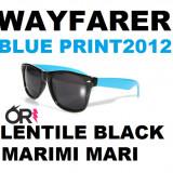 Ochelari Wayfarer Cu rama ALBASTRA si Lentile black negre - Doar 14.99 lei perechea!, Unisex