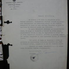 Ministerul Muncii, Sanatatii si Ocrotirilor Sociale - Scrisoare - 1941