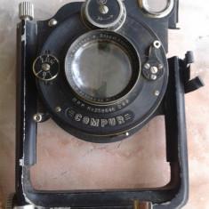 vand obiectiv,fata aparat foto vechi cu burduf,colectie,COMPUR D.R.P. NR.2588646