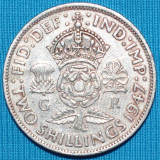 66 MAREA BRITANIE TWO SHILLINGS 1947 REGELE GEORGE VI