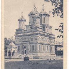 Carte postala(marca fixa)-CURTEA DE ARGES-Manastirea, Circulata, Printata