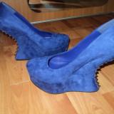 Pantofi cu platforma si tinte - Pantof dama, Culoare: Albastru, Marime: 39, Albastru