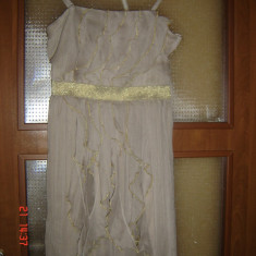Rochie ocazie dama eleganta Orsay, Culoare: Crem, Cu bretele