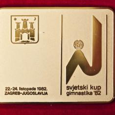 Placheta din bronz C.M. gimnastica Zagreb 1982 - Jubiliare