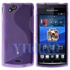 husa protectie gel mov purple  + folie ecran  Sony Ericsson SE Xperia Arc s X12 airmesh