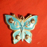 Medalion -Fluture -metal argintat si email, 3, 5 x 4 cm