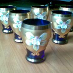 Set Elegant Bohemia Crystal placat cu aur 24 K - 8 piese. (COD:327) - Arta din Sticla