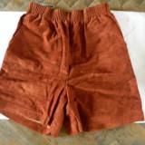 Pantaloni scurti imitatie piele - Pantaloni dama, Coniac, S