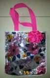 Gentuta fete cu paiete si floare roz, 27x25 cm